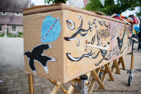 Hand painted cardboard coffin