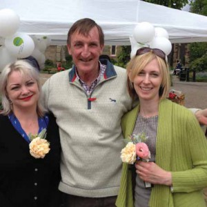 Carrie and Fran with Charles Cowling, Good Funeral Guide and Funeral Plan author