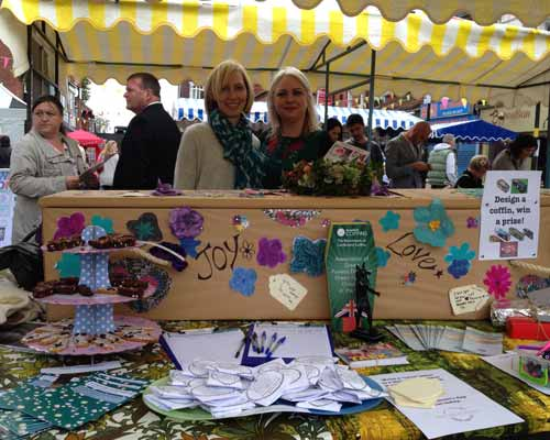 Fran and Carrie on the stand at Kings Heath Street Festival
