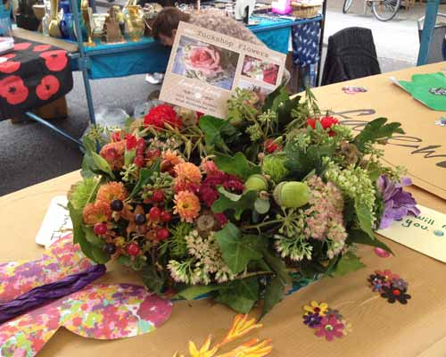 Autumn funeral floral display from Tuckshop Flowers