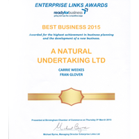 Best Business 2015 award A Natural Undertaking
