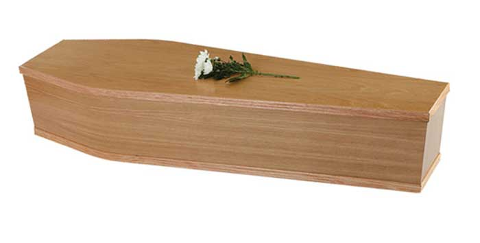 oak veneer coffin