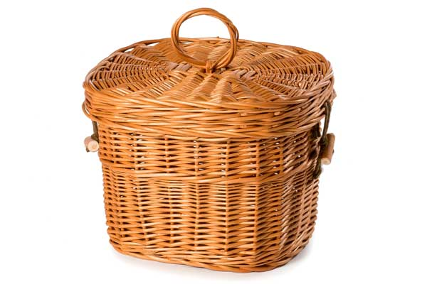 wicker ashes casket