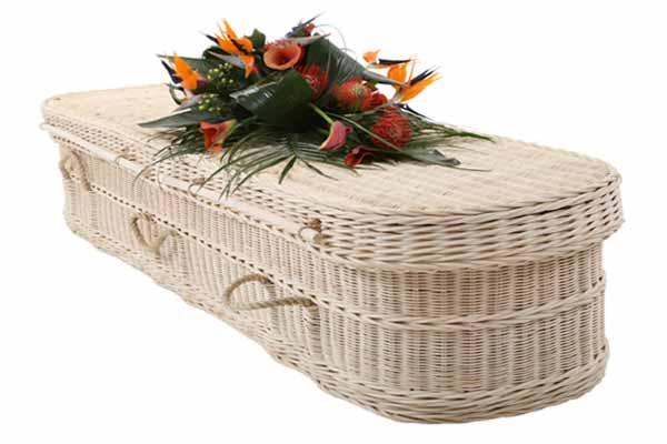 white cane coffin