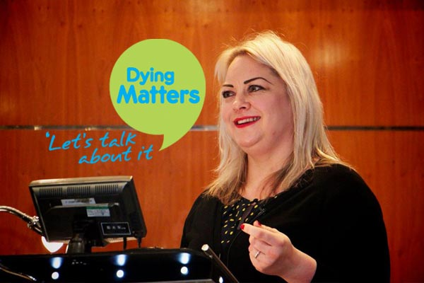 Carrie Weekes speaking at Dying Matters 2016 launch