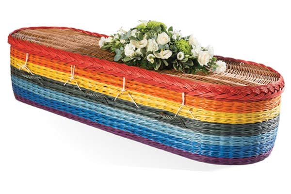 Rainbow coloured willow coffin