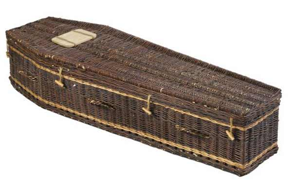 Chocolate rustic wicker coffin