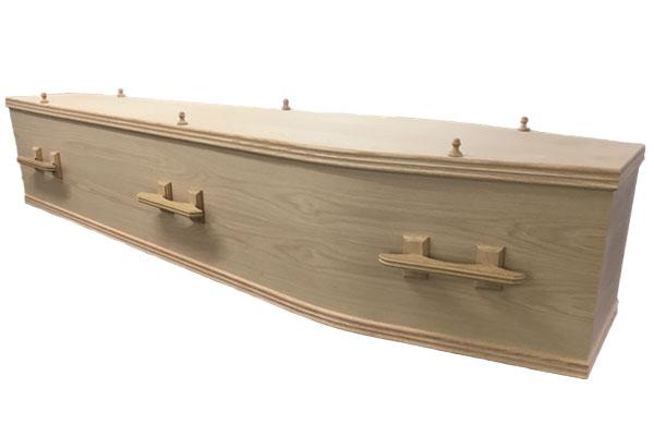 Unvarnished veneer coffin