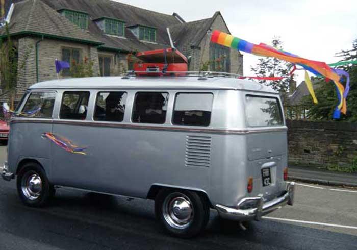 Silver camper van hearse